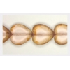 Glass Cutbead Flat Heart 16x15mm Strung- Rosaline Coated